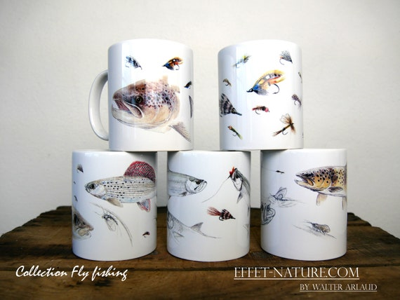 "Lot de 5 mugs Collections ""Fly fishing"" signé par l'artiste animalier Walter Arlaud, cadeau, maison et déco,thé, café, fishing art"