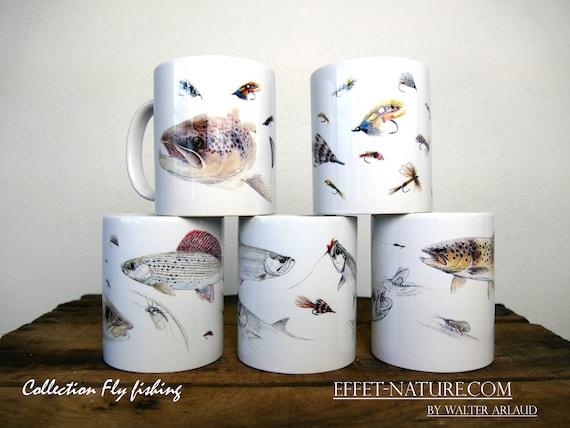 """Lot de 5 mugs Collections """"Fly fishing"""" signé par l'artiste animalier Walter Arlaud, cadeau, maison et déco,thé, café, fishing art"""