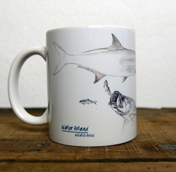 Mug Tarpon, fly fishing, signed by artist Walter Arlaud, ceramic cup, animal art, art fishing, peach gift, home decoration