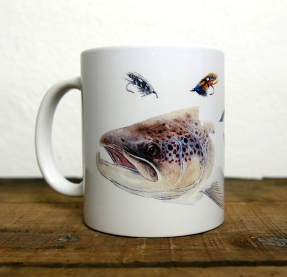 Salmon Mug, fly fishing, signed by artist Walter Arlaud, ceramic cup, animal art, art fishing, peach gift, home decoration