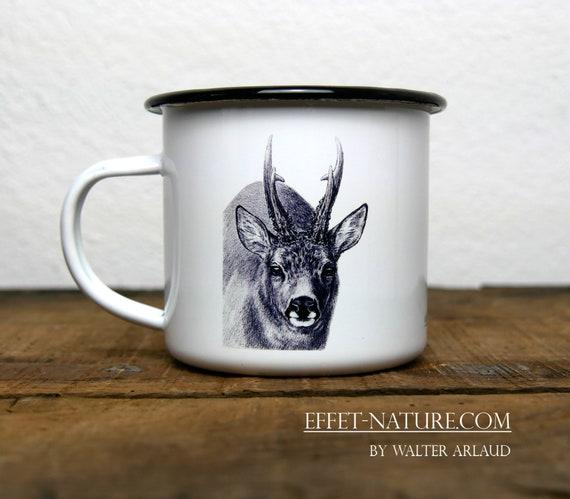 Vintage deer enamelled metal mug, signed by artist Walter Arlaud, vintage enamelled deer metal cup, hunting gift