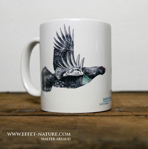Mug large grouse, signed by artist Walter Arlaud, large grouse cup, ceramic mug, ceramic cup, gift hunting, home and decoration