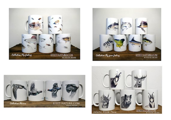 Lot of 2 mugs to choose from, collections signed by artist Walter Arlaud, house and décor, kitchen and meals, tea, coffee, gift, fishing art