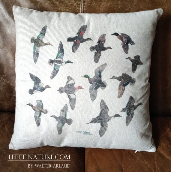 "Decorative cushion ""Ducks collection"" 40x40cm, home décor, gift, animal art, homemade textile"