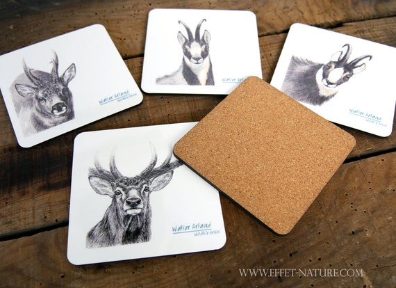 Lot of 5 coasters, medium and cork, table art, home and décor, kitchen and meals, deer, deer, wild boar, chamois, Isard