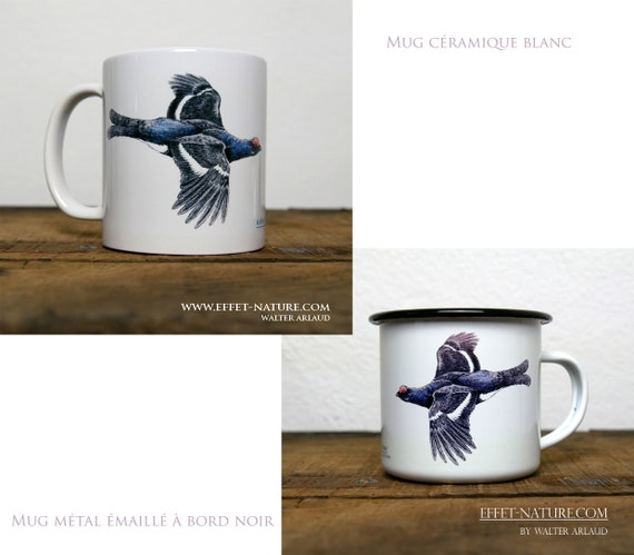 Mugs ceramic/metal white illustration Black grouse signed by the artist Walter Arlaud drawing in color
