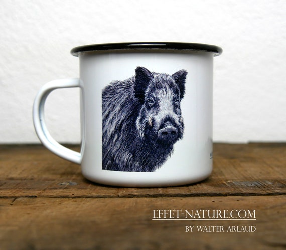 Vintage Boar enamelled metal mug, signed by artist Walter Arlaud, gift hunting, home and décor, kitchen and meals