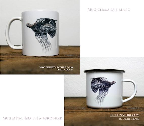 Ceramic/metal mugs illustration Envol Red Grouse signed by animal artist Walter Arlaud