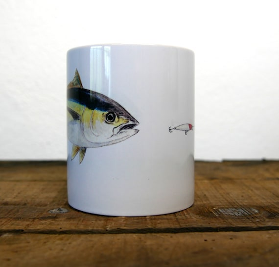 White ceramic mug illustration yellow tuna color signed by artist Walter Arlaud