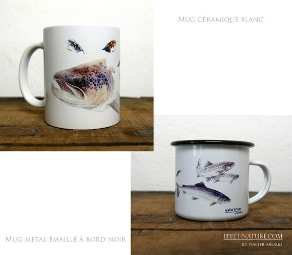 Mug ceramic white or metal enamel white with black edge study Salmon signed by the artist Walter Arlaud fly fishing art