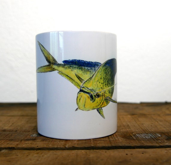 White ceramic mug sea bream coryphene color illustration signed by artist Walter Arlaud