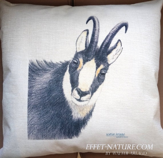 "Chamois decorative cushion ""Great Fauna collection"" 40x40cm, home décor, gift, animal art, home textile"