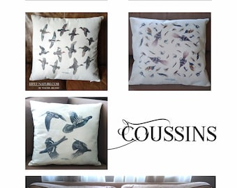 Decorative animal cushions in erunt canvas (linen appearance) signed by the naturalist artist Walter Arlaud 40 x 40 cm with trim