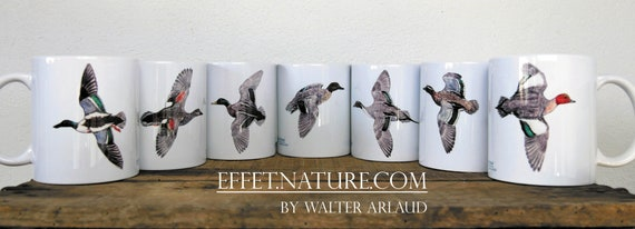 "Lot de 7 mugs Collection ""Canards"" signé par l'artiste animalier Walter Arlaud, cadeau pêche, maison et déco, café, fishing art"