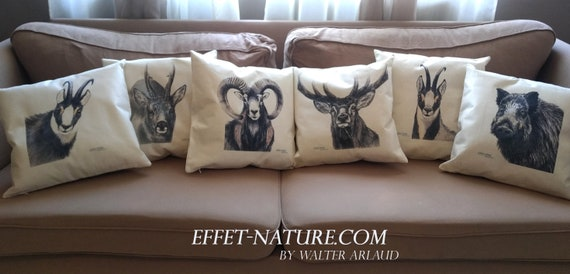 "Lot of 6 decorative cushions ""Great Fauna collection"" 40x40cm, home décor, gift, animal art, Home textile"