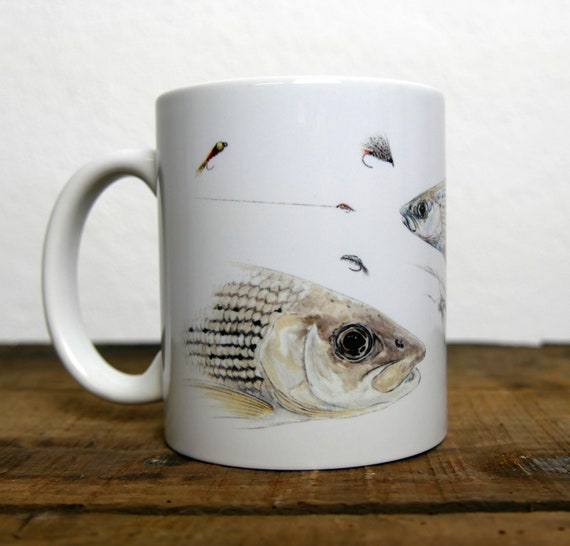 Common shadow mug, fly fishing, signed by artist Walter Arlaud, ceramic cup, animal art, fishing art, peach gift, house and decoration