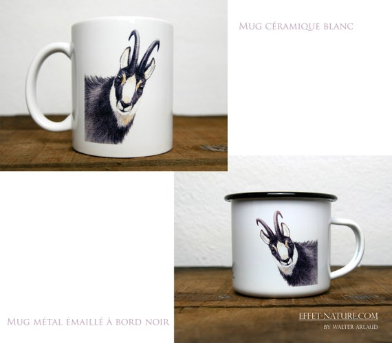 Ceramic/metal mugs Portrait of chamois signed by the artist Walter Arlaud Color illustration