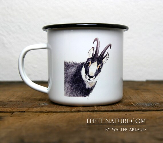 Vintage Chamois enamelled metal mug, signed by artist Walter Arlaud, gift hunting, home and decoration