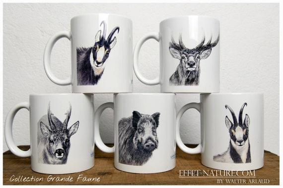 """Lot de 5 mugs Collections """"Grande faune"""" signé par l'artiste animalier Walter Arlaud, cadeau, maison et déco,thé, café"""