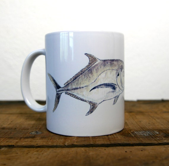 White ceramic mug illustration carangue signed by artist Walter Arlaud, cup with color drawing from a watercolor study