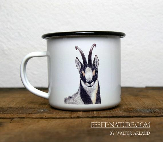 Vintage isard enamelled metal mug, signed by artist Walter Arlaud, vintage enamelled metal cup isard, gift, home and decoration