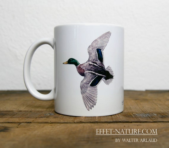 Mug Duck Mallard, signed by artist Walter Arlaud, cup, mug, animal art, hunting gift, decoration, tea, coffee