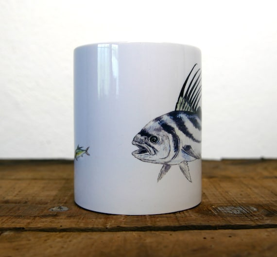 White ceramic mug illustration fish signed by artist Walter Arlaud, cup with color drawing
