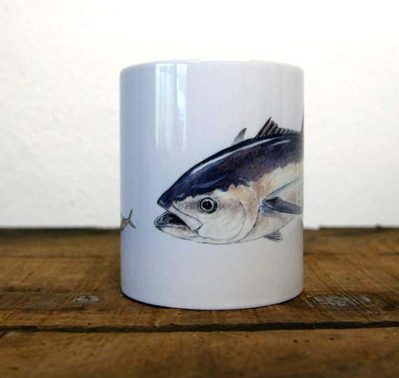 Bluefin tuna mug, singé by artist Walter Arlaud, bluefin tuna cup, ceramic mug, ceramic cup, gift, fishing art, home and décor