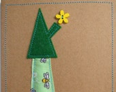 A set of 5 beautiful, unique handmade 3D cards. Message me your selection. Made from material, felt, wooden buttons and recycled card.