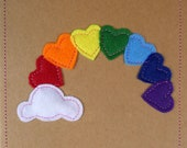 Beautiful, unique, handmade rainbow heart 3D cards. Made from felt, buttons and recycled card. Choose your colour and style preference.
