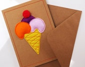 Beautiful, unique, handmade 3D ice cream cards. Made from felt, pom poms and recycled card. Message me if you would like specific colours.