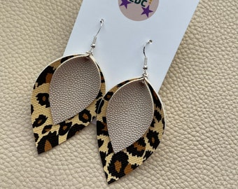 Leopard Print and Cream Sparkle Faux Leather Pinched Leaf Earrings Joanna Gaines Style Jewellery by longdogcraft LDC UK