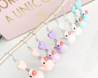 Cute Rubber Duck Earrings, Kawaii Bird Dangle Earrings with Pastel Hearts, Pastel Goth Jewellery, gift for teen daughter