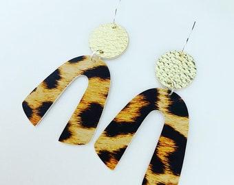 Medium Leopard and Gold Faux Leather Earrings, Arch Earrings, Rainbow Earrings, Horseshoe Earrings, Statement Earrings, Lightweight earrings