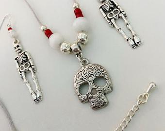 Mr Skeleton Jewellery Set, light dangle earrings, adjustable satin cord necklace, red white glass beads, skull & skeleton Halloween gift