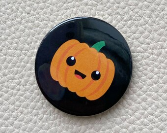 Spooky Halloween Pin Button Badge or Magnet, Trick or Treat Gift, Fancy Dress Prize, Letterbox surprise for school kids Pumpkin PSL drinker