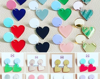 Statement Heart Earrings, Cute and Colourful, Kawaii Acrylic LaserCut Jewellery Great for photos, parties and Zoom calls! By LDC