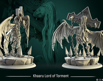 K'haaru Lord of Torment | heroic miniature 75mm scale - by White Werewolf Tavern