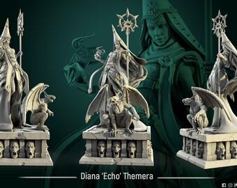 Diana 'Echo' Themera diorama | 75mm - 32mm | Stone monster Gargoyle - by White Werewolf Tavern