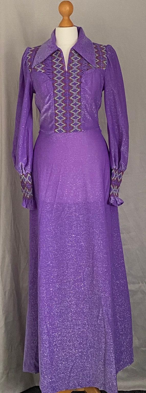 Gorgeous purple 60s maxi dress Uk size 8