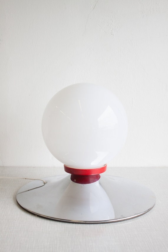 70s chrome and glass Space Age bedside lamp