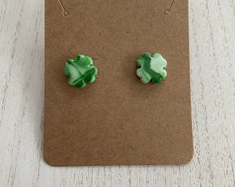 Handmade Polymer Clay Green and Gold Four Leaf Clover Earrings Hypoallergenic Titanium Stud Gold Leaf