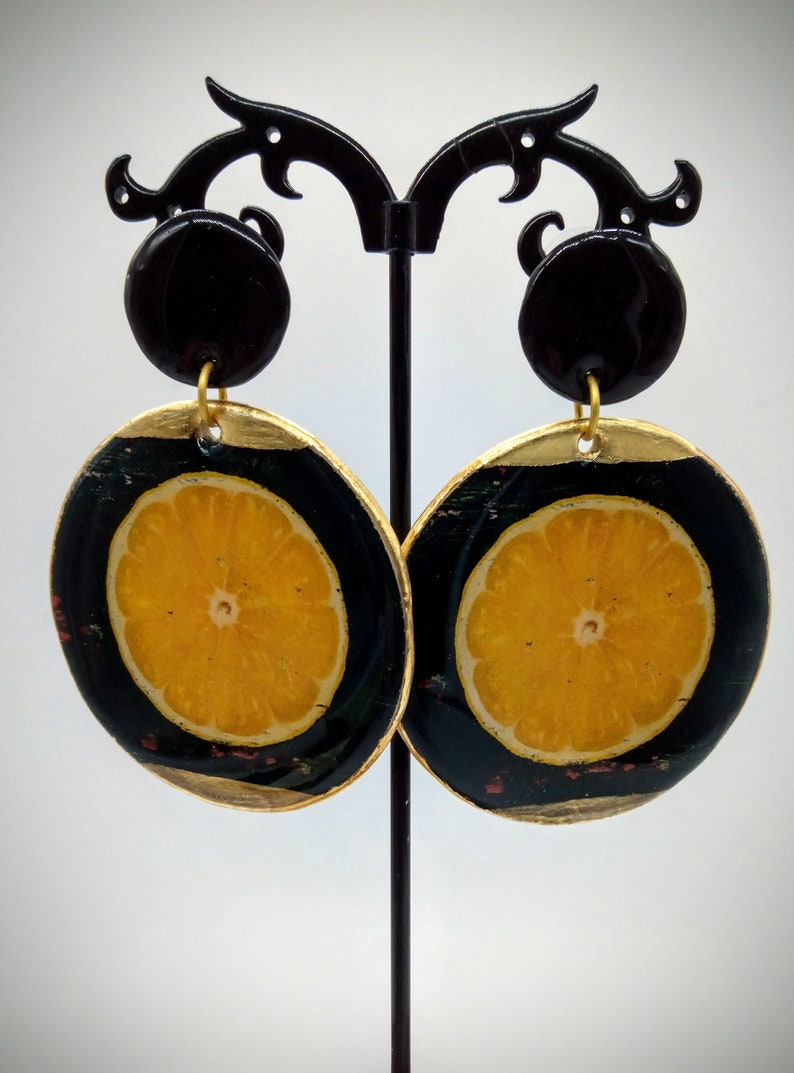 Large earrings with oranges Chic gift. Shiny earrings in epoxy Black and gold earrings Round mobile pendant earrings