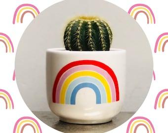 Cactus Planting Kit - Ceramic Rainbow Planter