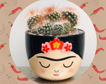 Cactus Planting Kit with Living Plant - Sass and Belle Frida Kahlo Planter Plant Pot