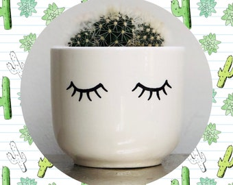Cactus Planting Kit - Eyelashes - Eyes Shut Ceramic Planter