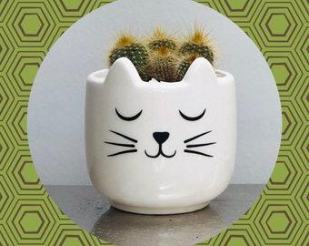 Cactus Planting Kit Gift - Ceramic White Cat Planter