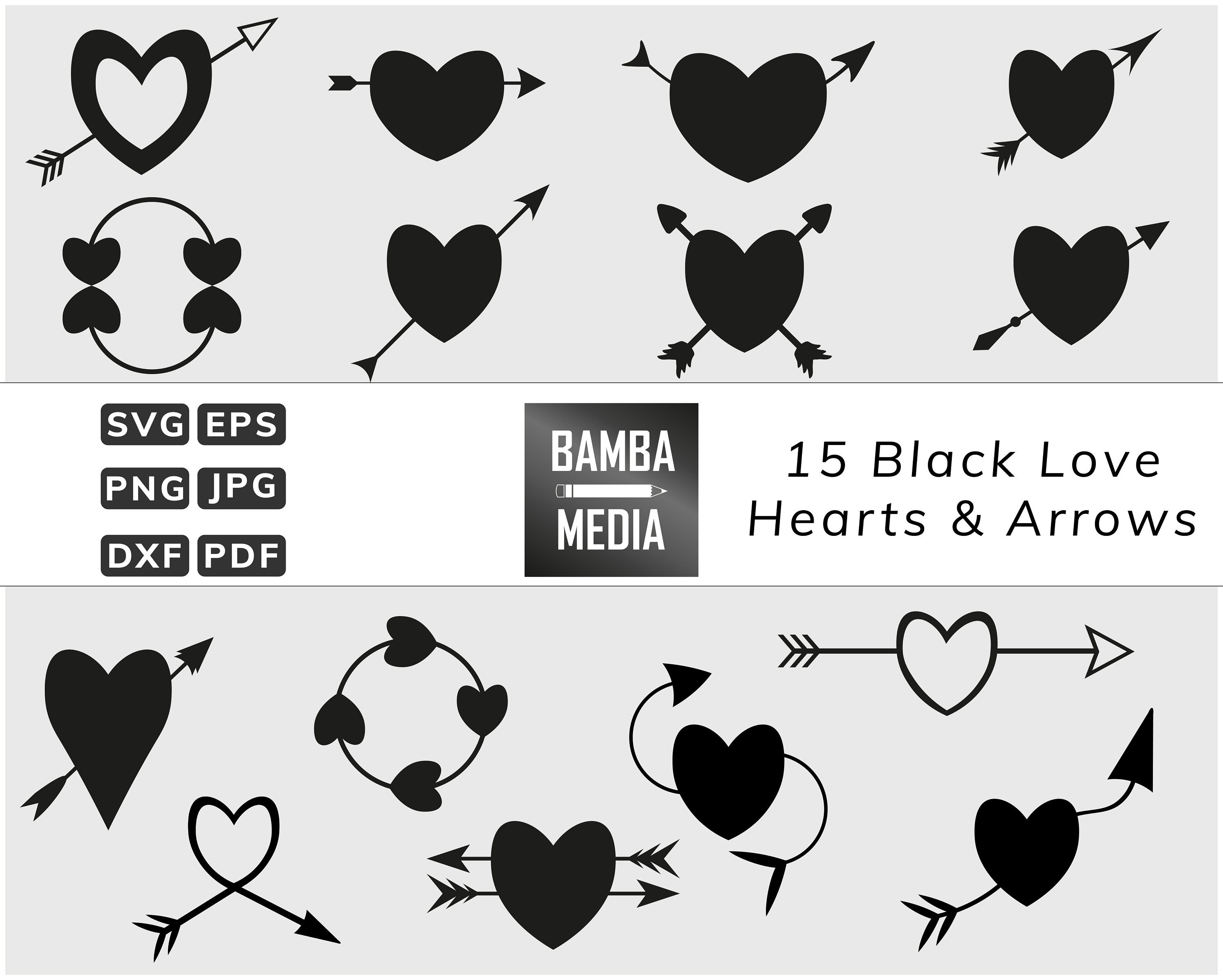 21 Black Hearts And Arrows Love Valentine In Multiple Formats For Cut Files And Crafts Svg Eps Dxf Png Jpg Pdf