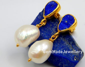 Lapis Lazuli Earrings, Pearl Earrings, Dangle Earrings, Raw Gemstones, September June Birthstone, Silver Gold Plated, Bridal, Gift For Her