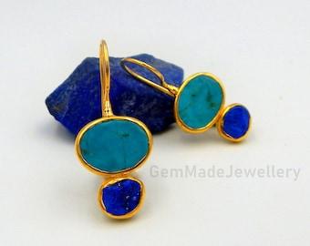 Lapis Lazuli Earrings, Turquoise Earrings, Drop Earrings, Rough Gemstones, September December Birthstone, Sterling Silver Gold Plated, Gift